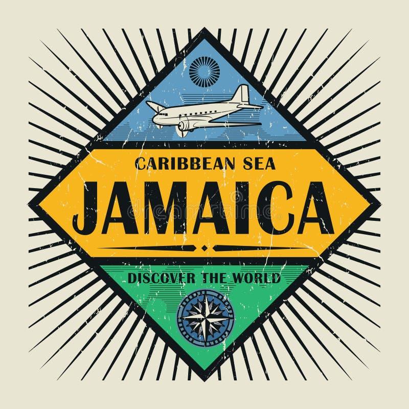 Stamp or vintage emblem text Jamaica, Discover the World. Stamp or vintage emblem with airplane, compass and text Jamaica, Discover the World, vector royalty free illustration