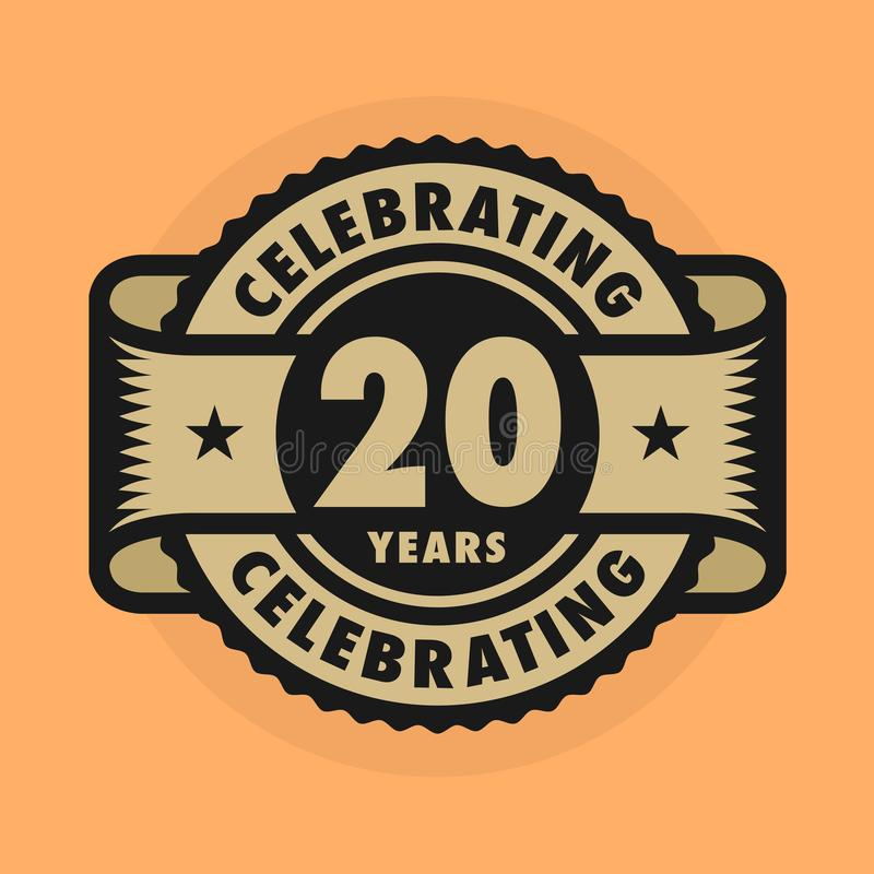 Free Stamp With The Text Celebrating 20 Years Anniversary Stock Image - 133427471