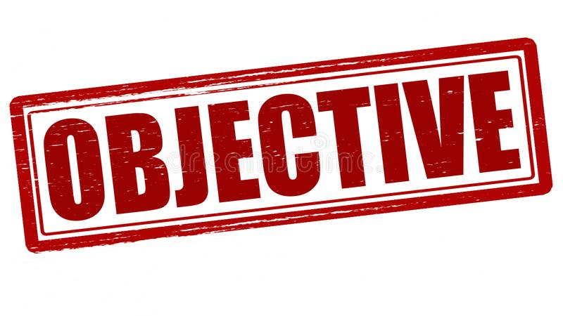 Objective. Stamp with word objective inside, illustration royalty free illustration