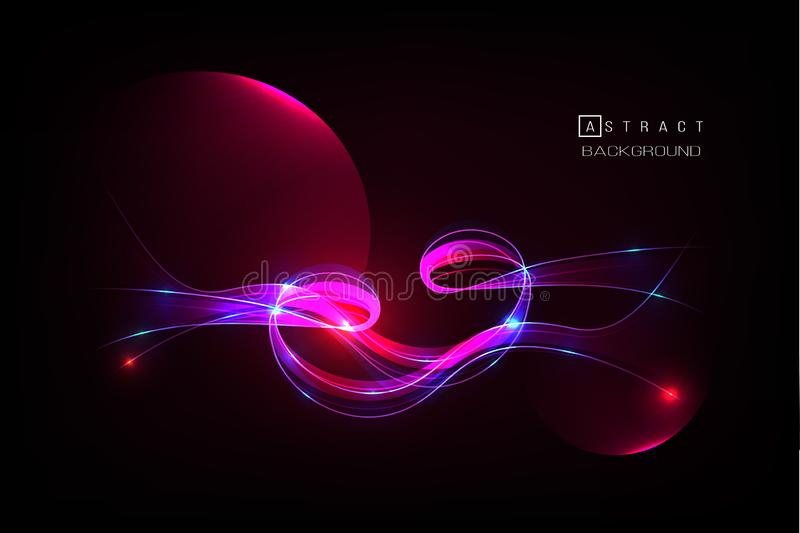 Glowing colorful abstract wave on the dark background, shiny motion. royalty free illustration