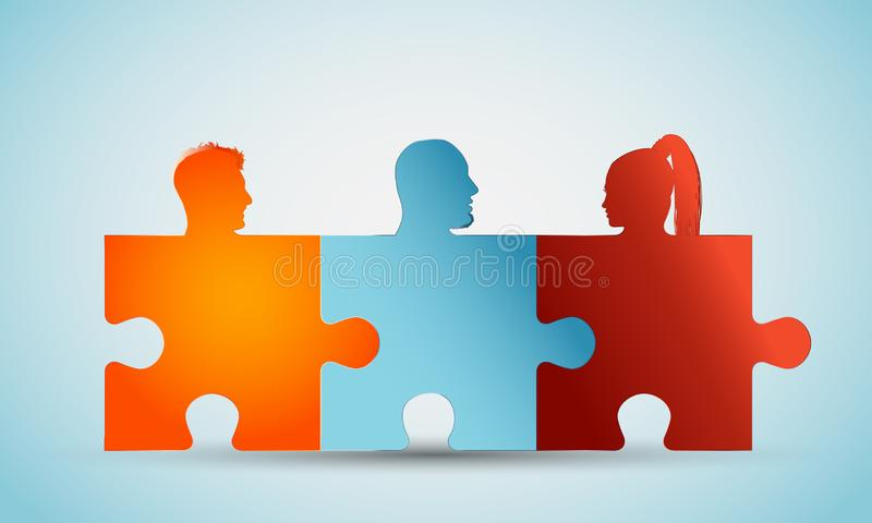 Group of colorful silhouette people heads forming puzzle pieces. Concept teamwork or community. Problem solving. Cooperation and c. Concept of teamwork. Design a royalty free illustration