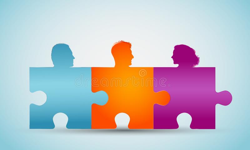 Group of colorful silhouette people heads forming puzzle pieces. Concept teamwork or community. Cooperation and competence. Associ. Concept of teamwork. Design a stock illustration