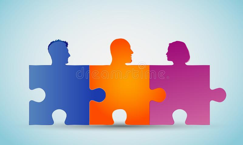 Group of colorful silhouette people heads forming puzzle pieces. Problem solving. Concept teamwork or community. Cooperation and c. Concept of teamwork. Design a stock illustration
