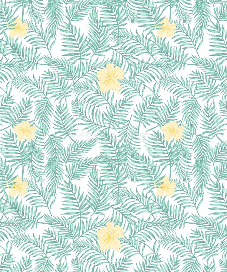 Seamless vector tropical pattern with aqua green palms leaves and pastel yellow  flowers stock illustration