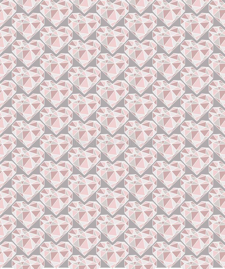 Diamond hearts seamless pattern in pink tones with grey background royalty free illustration