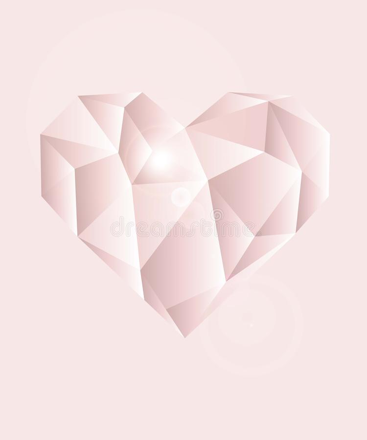 Light pink diamond heart with light pink background royalty free illustration