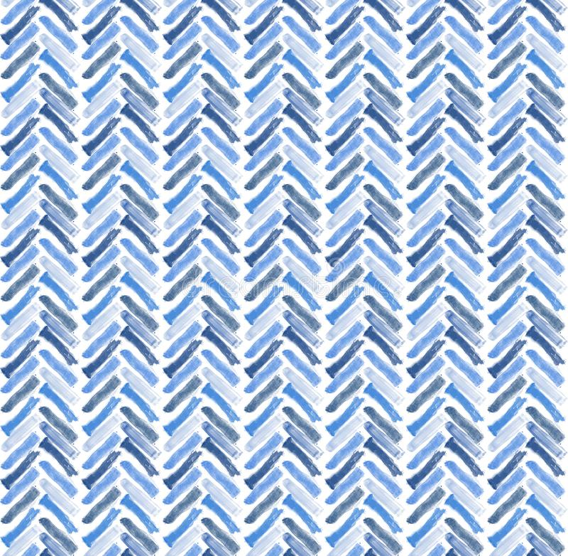 Decorative blue brush strokes chevron seamless pattern in three tones of blue. 