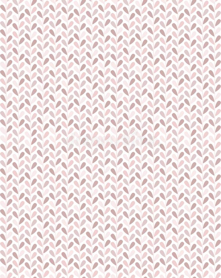 Simply and fancy small leaves vector seamless pattern in pastel pink tones with chevron look royalty free stock image