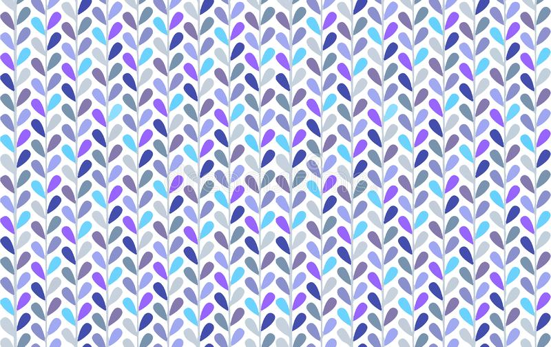 Bright blue and violet small leaves vector seamless pattern with chevron look stock photo