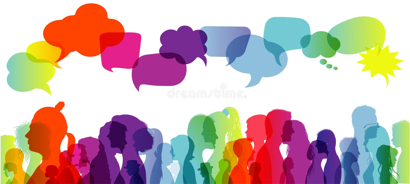 Crowd talking. Speech bubble. Dialogue group of diverse people. Communication between people. Silhouette profiles. Rainbow colours. Possible use in the field of stock illustration