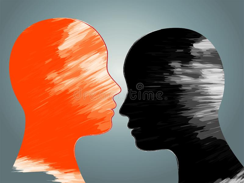 Bipolar disorder mind mental. Double face. Mental disease. Metaphor. Split personality. Mood disorder. Dual personality concept. 2. Bipolar disorder, mood change royalty free illustration