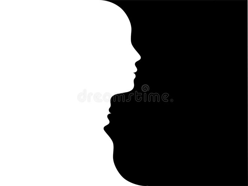 Double face. Metaphor bipolar disorder mind mental. Split personality. Mood disorder. Dual personality concept. 2 heads black whit. Bipolar disorder, mood change vector illustration