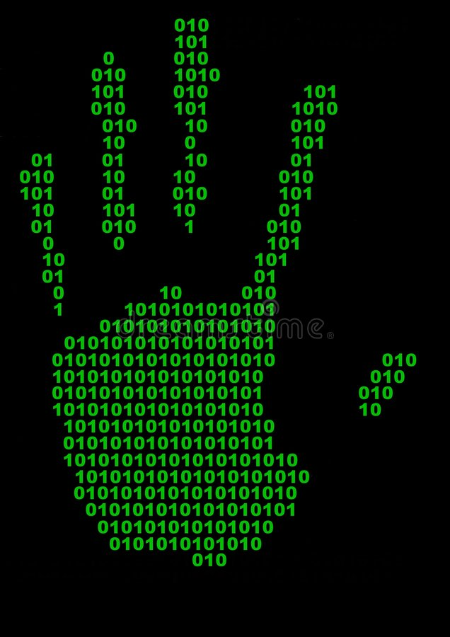 Stampa binaria della mano illustrazione vettoriale