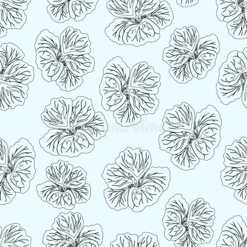 Stampa blu-chiaro del fiore dell'ibisco Nasturzio splendido Reticolo floreale Priorità bassa senza giunte d'avanguardia Struttura illustrazione di stock