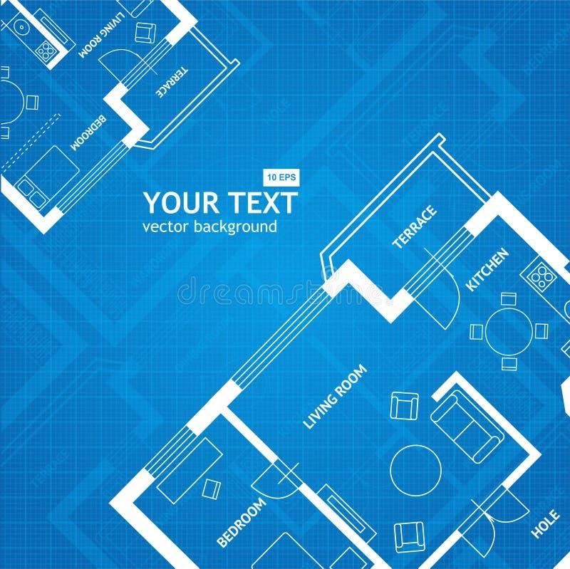 Stampa blu di piano di vettore Priorità bassa architettonica illustrazione di stock