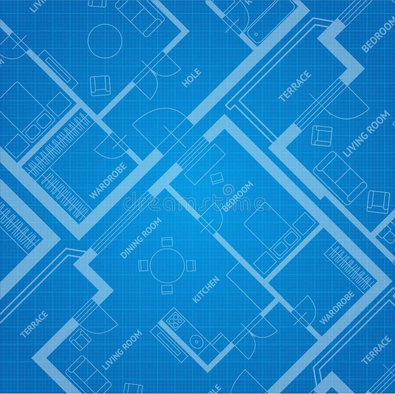 Stampa blu di piano di vettore Priorità bassa architettonica royalty illustrazione gratis