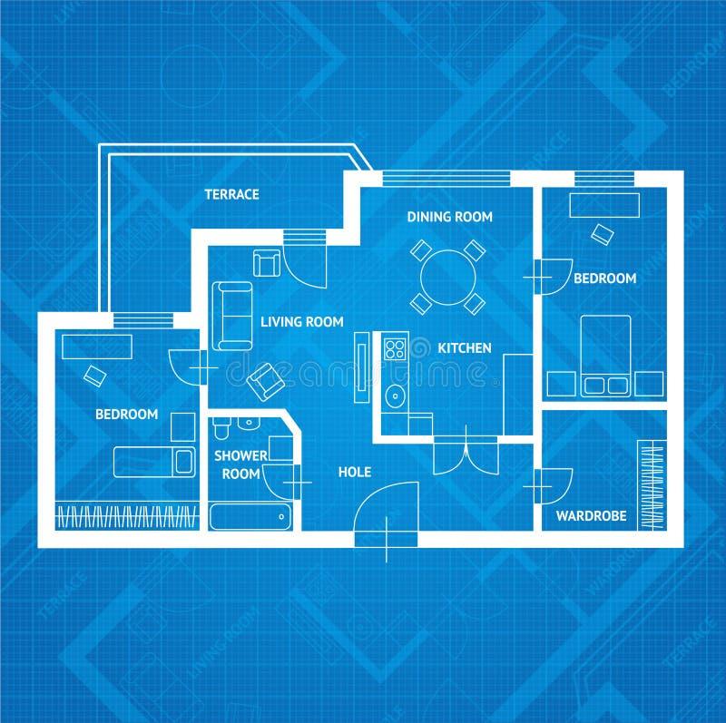 Stampa blu di piano di vettore Progettazione piana illustrazione di stock