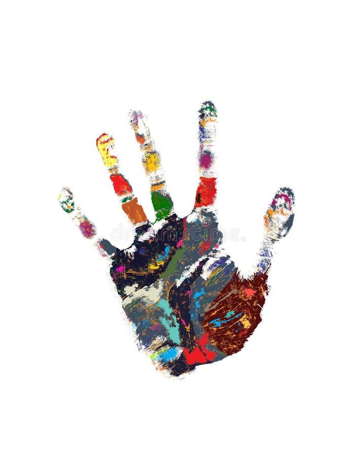 Stampa colorata della mano illustrazione vettoriale