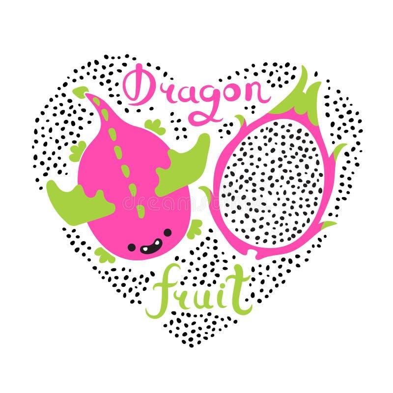Stampa con cuore e la frutta del drago Alimento del vegano Illustrazione sveglia di vettore di estate illustrazione vettoriale