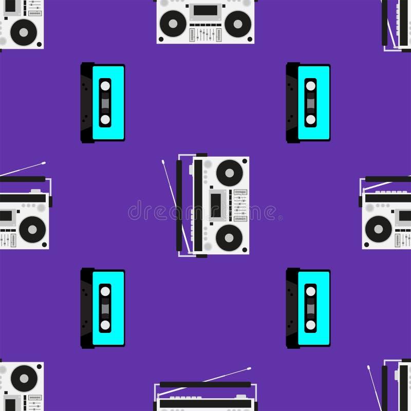 Stampa con i vecchi registratori e cassette Reticolo senza giunte musicale Illustrazione di vettore royalty illustrazione gratis