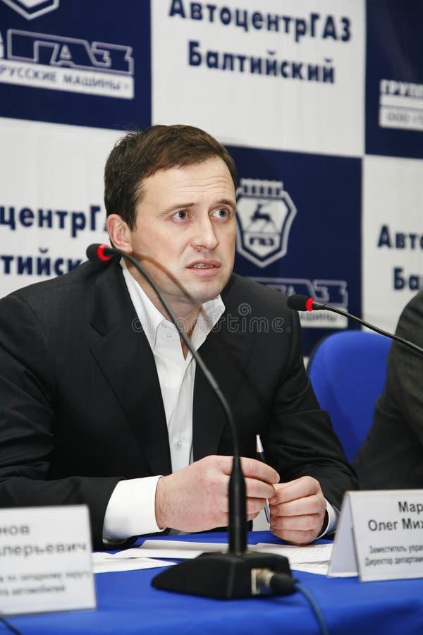 Stampa-conferenza per i giornalisti con partecipazione della gestione della fabbrica di automobili di Gorkij fotografia stock libera da diritti