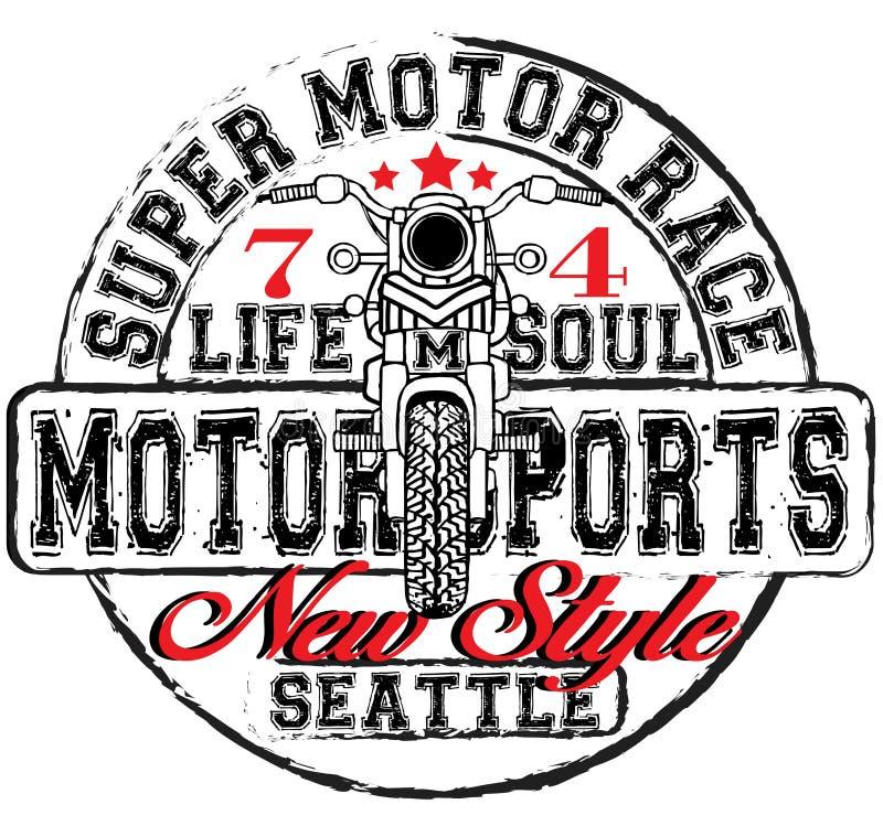 Stampa d'annata della maglietta del disegno della mano della corsa della motocicletta illustrazione vettoriale