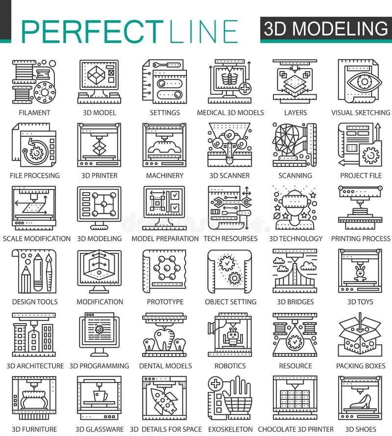 stampa 3D, simboli modellanti e d'esplorazioni di 3D di tecnologia mini di concetto del profilo Illustrazioni lineari di stile de illustrazione vettoriale