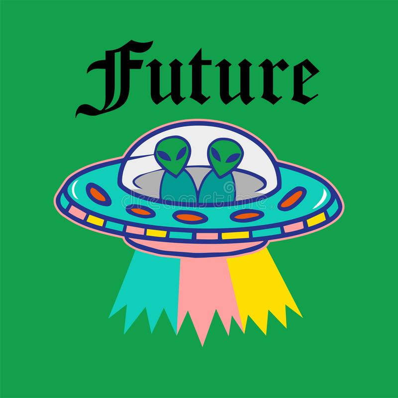 Stampa del UFO illustrazione vettoriale