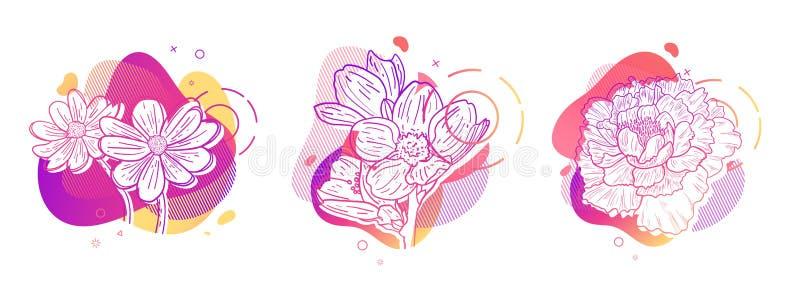 Stampa dell'insieme di progettazione del modello con la linea del fiore Manifesto con forma astratta moderna di pendenza con il f royalty illustrazione gratis
