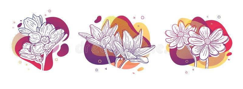 Stampa dell'insieme di progettazione del modello con la linea del fiore Manifesto con forma astratta moderna di pendenza con il f illustrazione di stock