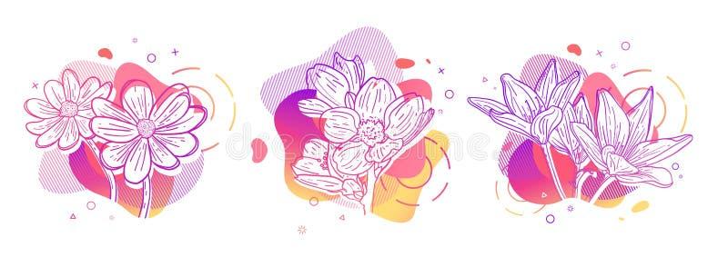 Stampa dell'insieme di progettazione del modello con la linea del fiore Manifesto con forma astratta moderna di pendenza con il f illustrazione vettoriale