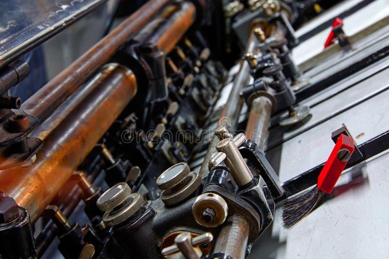 Stampa della macchina a cilindri di litografia della stampante immagine stock libera da diritti