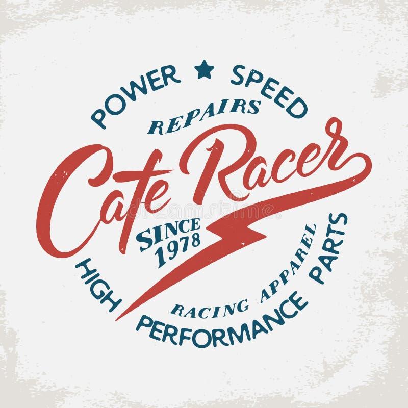 Stampa della maglietta del corridore del caffè illustrazione di stock