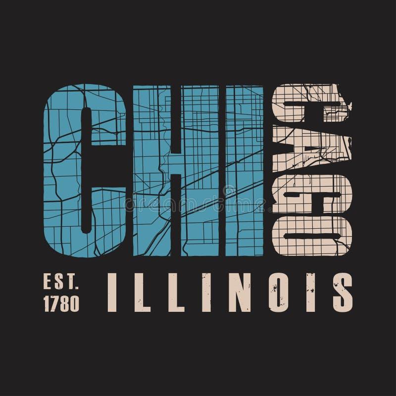 Stampa della maglietta di Chicago Illinois Illustrazione di vettore royalty illustrazione gratis