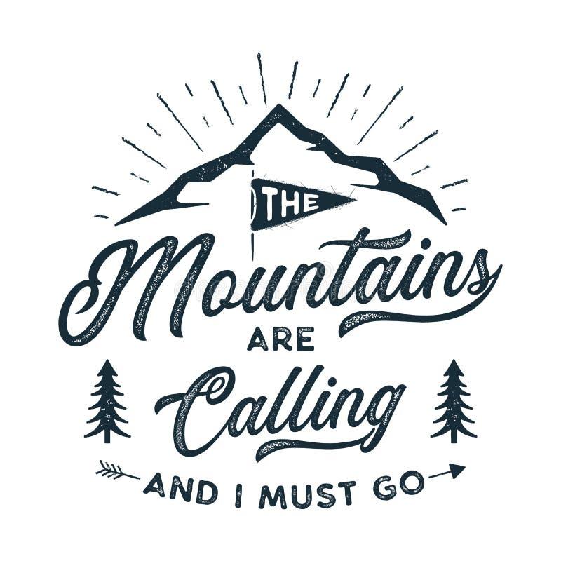 Stampa della maglietta di viaggio Le montagne stanno chiamando e devo andare progettazione Stampa della siluetta di avventura, ma illustrazione di stock