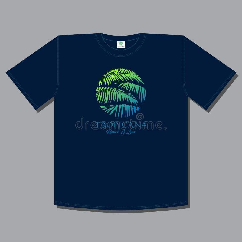 Stampa della maglietta Logo di Tropicana Emblema della stazione termale e della località di soggiorno illustrazione vettoriale