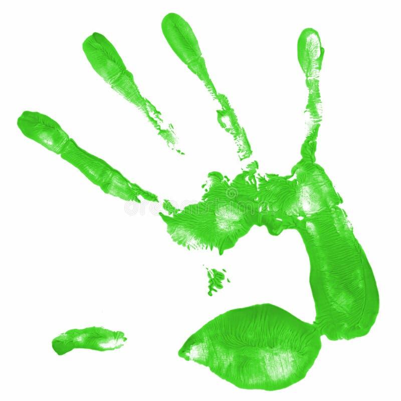 Stampa della mano con colore verde immagini stock