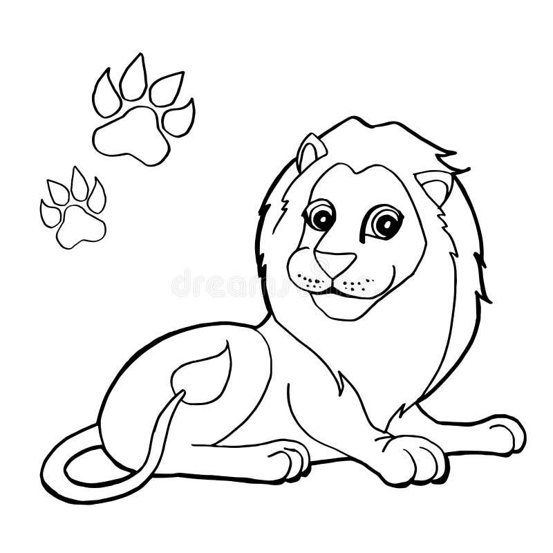 Stampa della zampa con il vettore di Lion Coloring Pages illustrazione vettoriale