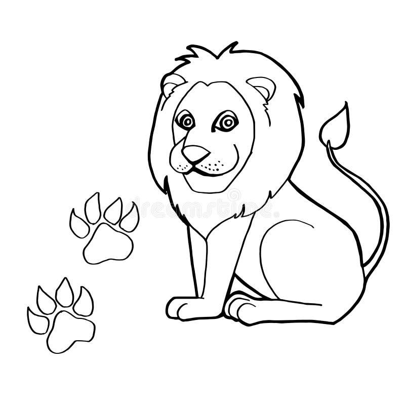 Stampa della zampa con il vettore di Lion Coloring Pages royalty illustrazione gratis