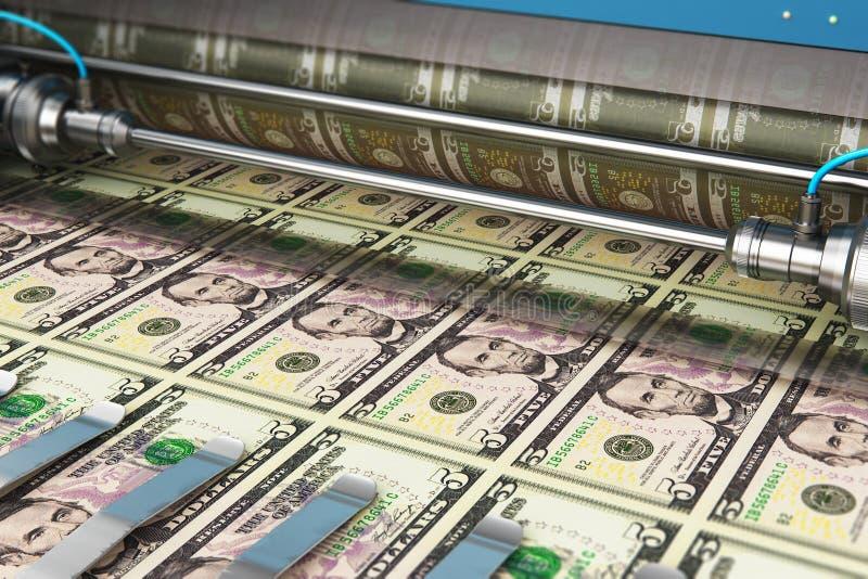 Stampa delle banconote dei fondi USD di 5 dollari americani fotografia stock libera da diritti