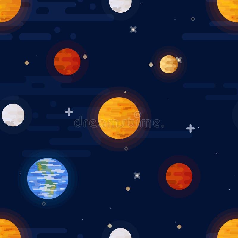 Stampa dello spazio Reticolo senza giunte di vettore Pianeti colorati differenti del sistema solare e delle stelle illustrazione vettoriale