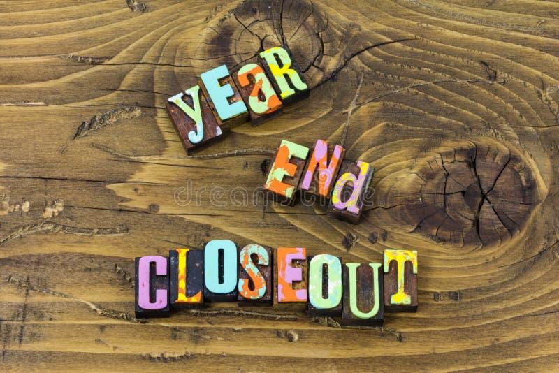 Stampa di fine d'anno di tipografia delle mercanzie di liquidazione di closeout del deposito illustrazione di stock