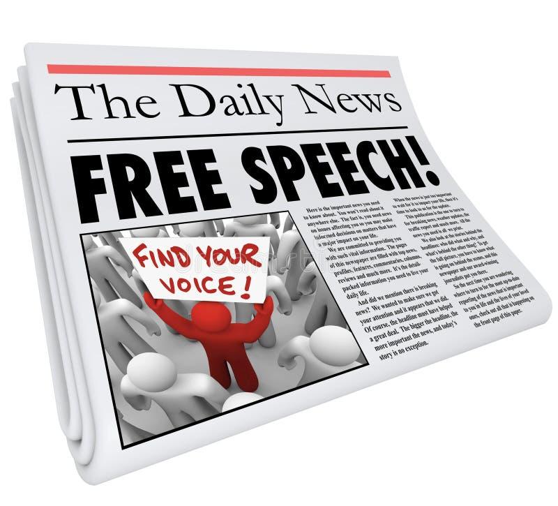 Stampa di giornalismo di mezzi di informazione del titolo del giornale di libertà di parola illustrazione vettoriale