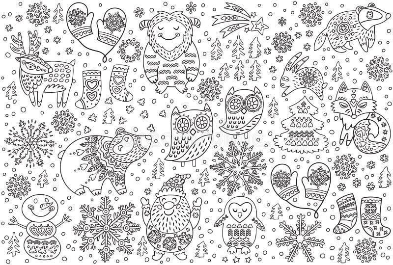 Stampa di inverno degli animali operati decorativi nella neve Ideale dell'illustrazione di vettore di contorno per la stampa di c illustrazione di stock