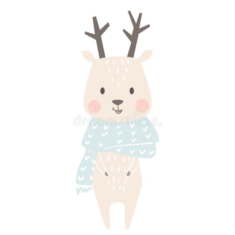 Stampa di inverno del bambino dei cervi Animale sveglio nella cartolina di Natale calda della sciarpa illustrazione vettoriale