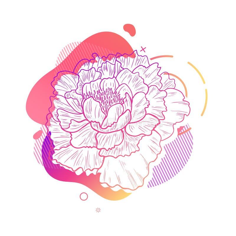 Stampa di progettazione del modello con la linea del fiore Manifesto con forma astratta moderna di pendenza con il fiore della pe illustrazione vettoriale