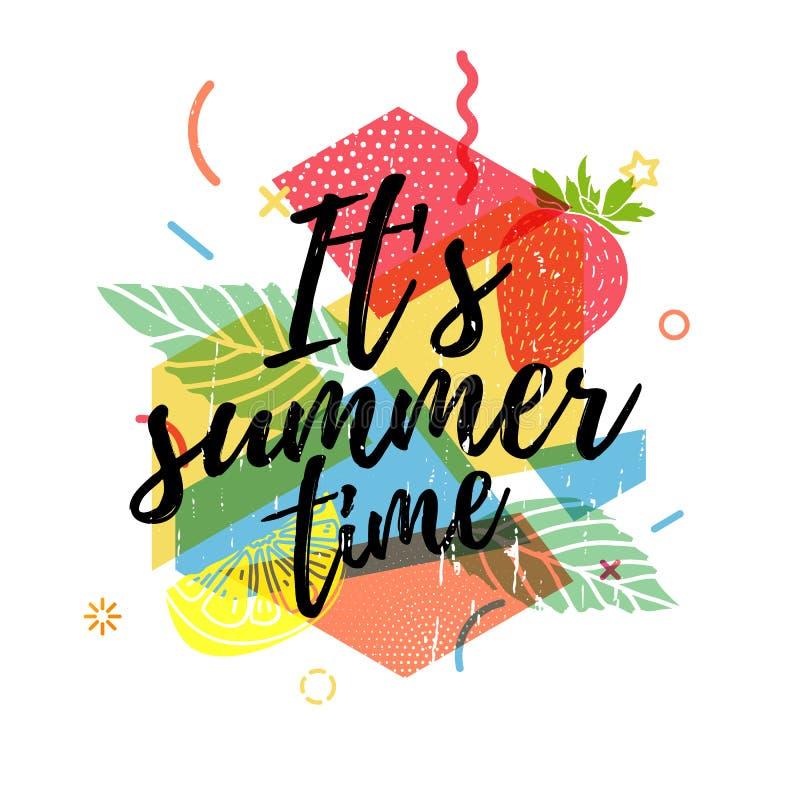 Stampa di progettazione per la stagione estiva Il fondo astratto con le siluette fruttifica, limone, fragola e menta, geometrici royalty illustrazione gratis