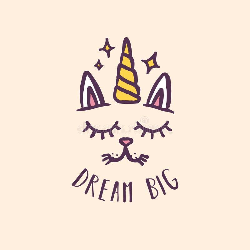 Stampa disegnata a mano della scuola materna dell'unicorno di sogno del grande gatto Illustrazione di vettore royalty illustrazione gratis