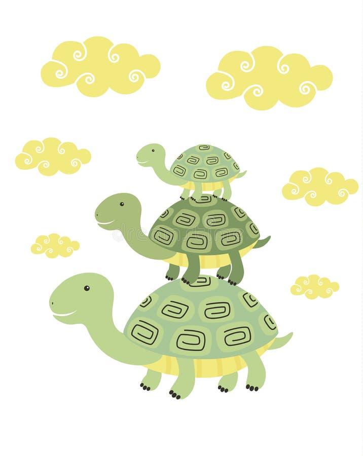 Stampa divertente della tartaruga del fumetto illustrazione vettoriale