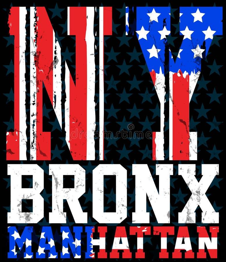Stampa e squadra di college di vettore della bandiera di New York america Per la maglietta illustrazione vettoriale